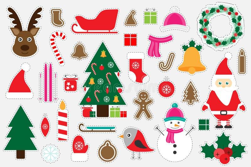 孩子的,乐趣孩子的教育比赛,学龄前活动,套贴纸,传染媒介illus不同的五颜六色的圣诞节图片 向量例证