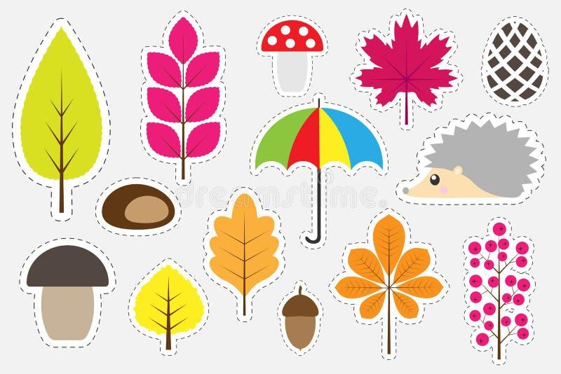 孩子的,乐趣孩子的教育比赛,学龄前活动,套贴纸,传染媒介illustra不同的五颜六色的秋天图片 向量例证