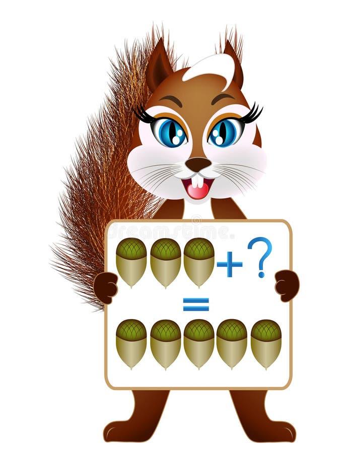 孩子的,动画片例证数学加法教育比赛 库存例证