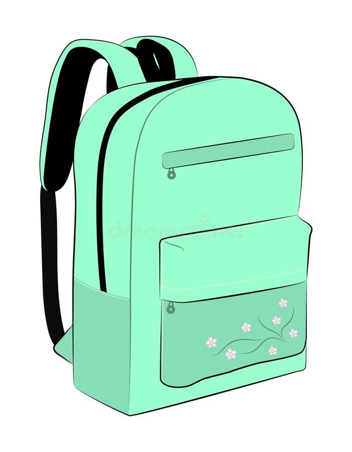 孩子的,有花的背包书包 向量例证