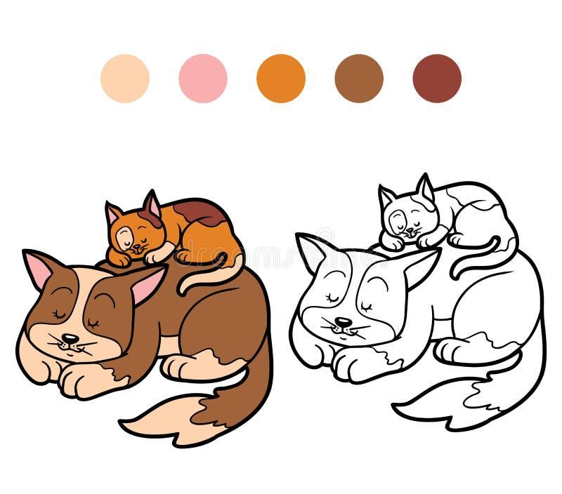 孩子的(两只被察觉的猫)彩图 向量例证