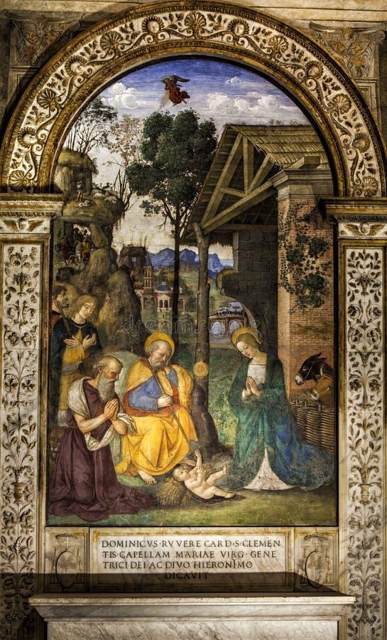 孩子的崇拜 Pinturicchio 德拉罗威尔教堂(诞生) del玛丽亚popolo罗马圣诞老人 意大利 免版税库存照片