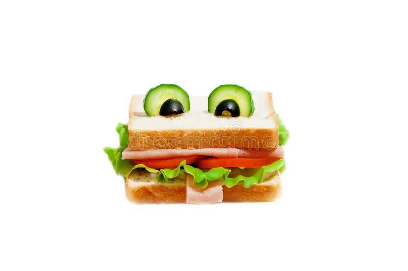孩子的滑稽的三明治。 免版税库存图片