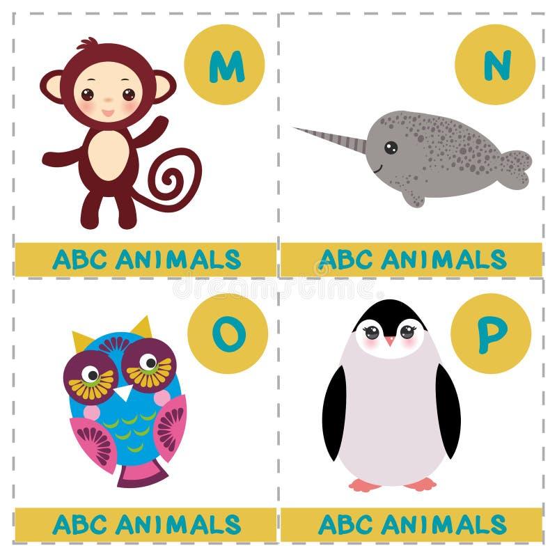 孩子的ABC字母表 套滑稽的narwhal猫头鹰猴子企鹅动画片动物字符 比赛的卡片 在丝毫隔绝的动物园 皇族释放例证