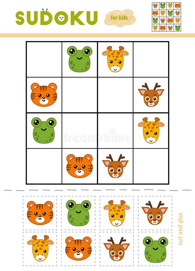 孩子的Sudoku,教育比赛 动物动画片被画的现有量查出的向量白色 库存例证
