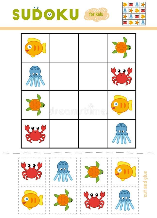 孩子的Sudoku,教育比赛 动画片海洋动物 皇族释放例证