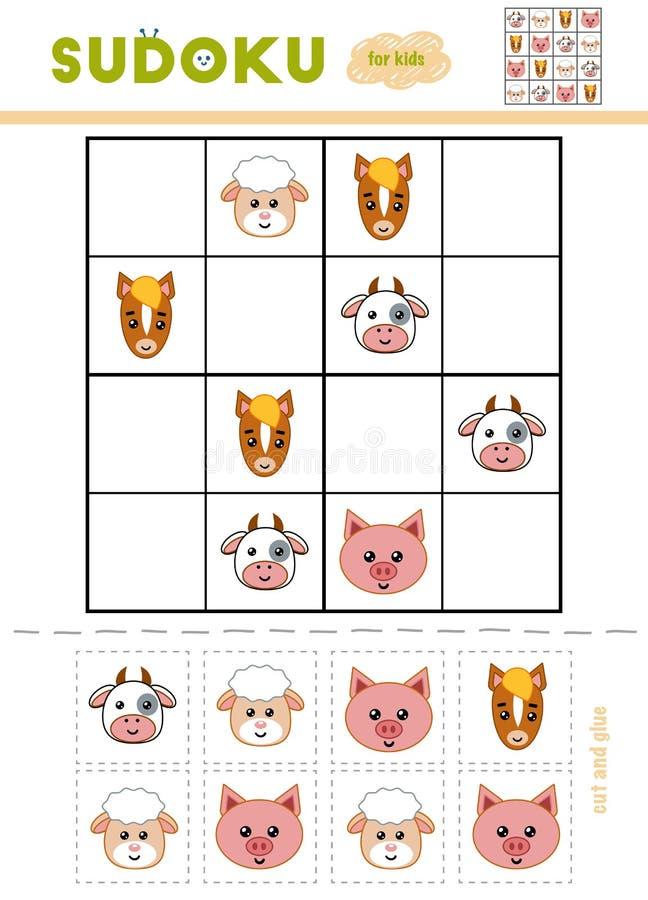 孩子的Sudoku,教育比赛 动画片牲口 皇族释放例证