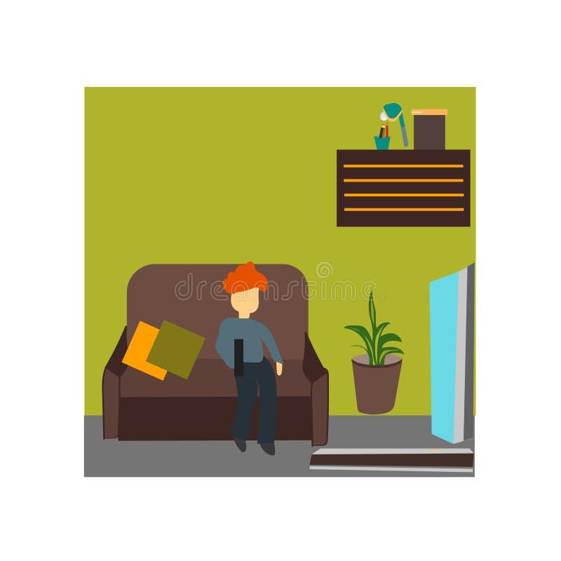 孩子看着电视传染媒介在白色背景和标志隔绝的传染媒介标志,孩子看着电视传染媒介商标概念 库存例证