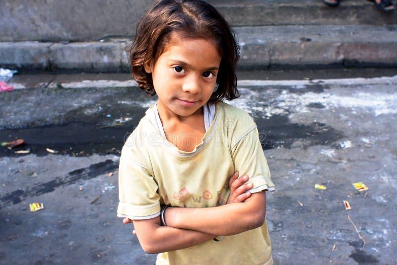 孩子看起来镇静和愉快 图库摄影