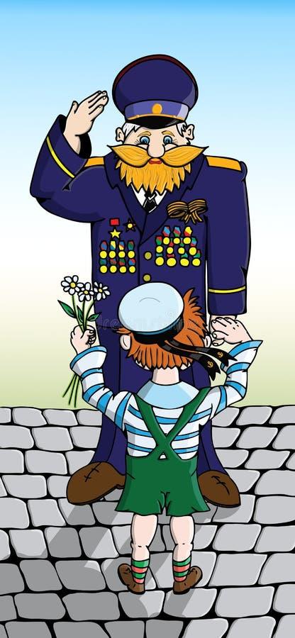 孩子祝愿年长退伍军人 向量例证