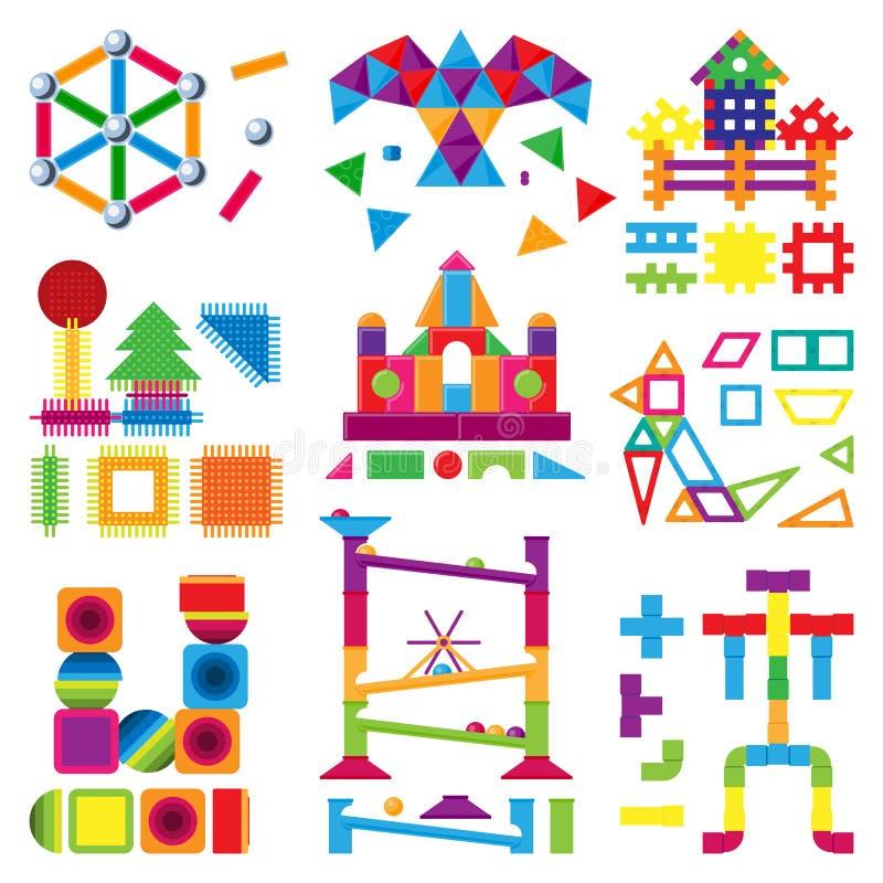 孩子积木在childroom戏弄传染媒介婴孩五颜六色的砖修建或修建逗人喜爱的颜色建筑 向量例证