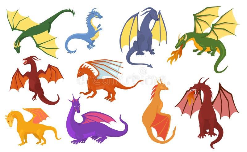 孩子童话迪诺例证幼稚集合的龙动画片传染媒介逗人喜爱的蜻蜓迪诺字符小恐龙 皇族释放例证