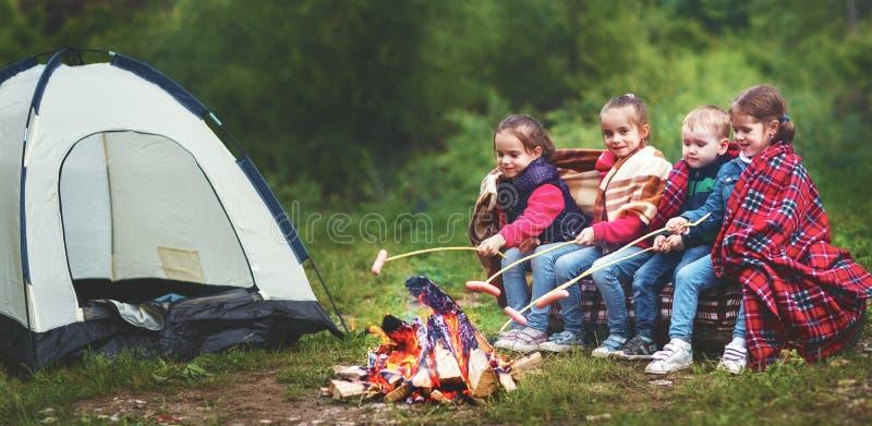 孩子笑并且油煎香肠在利益靠近帐篷 免版税图库摄影