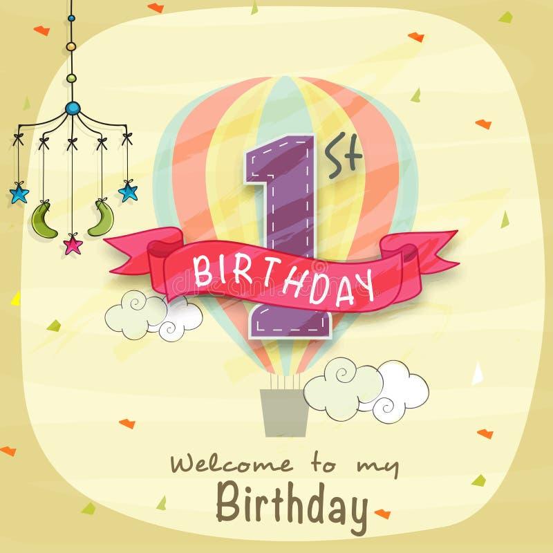孩子第1个生日邀请卡片设计 皇族释放例证