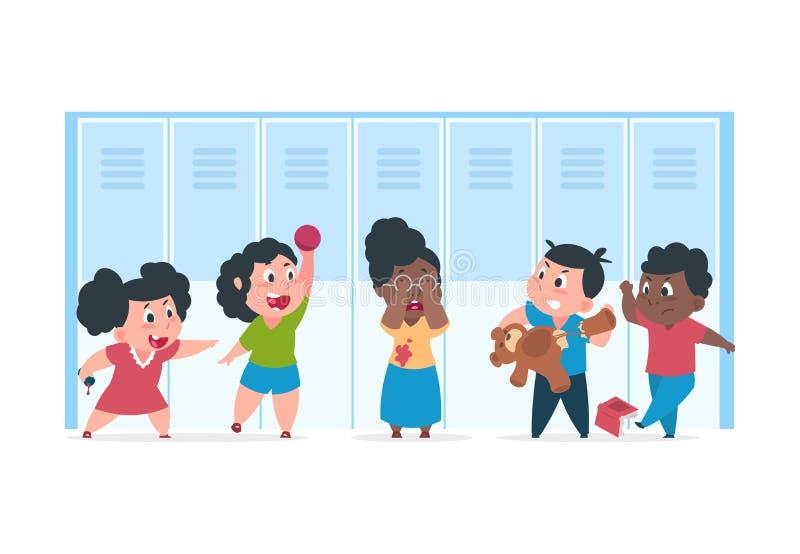 孩子胁迫 害怕的孩子遭受坏恼怒的孩子,嘲笑在学校的胁迫的概念 传染媒介卡通人物 向量例证