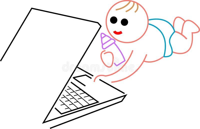 孩子膝上型计算机 皇族释放例证