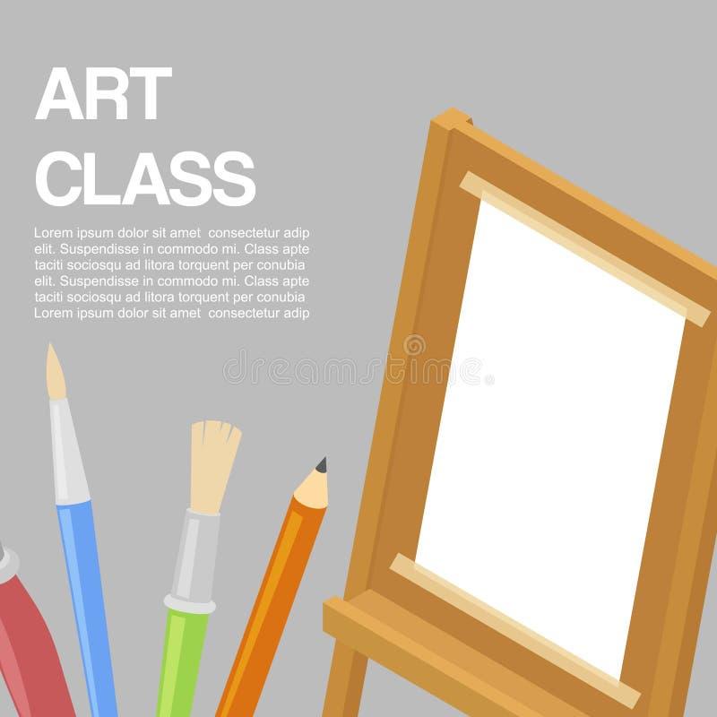 孩子艺术工艺,教育,艺术性的类概念 传染媒介横幅或海报与白方块纸在木画架 库存例证