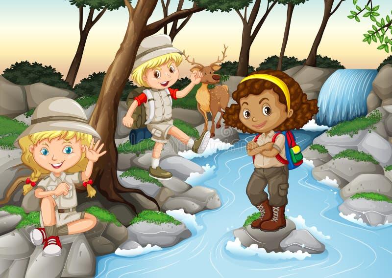 孩子获得乐趣在瀑布 向量例证