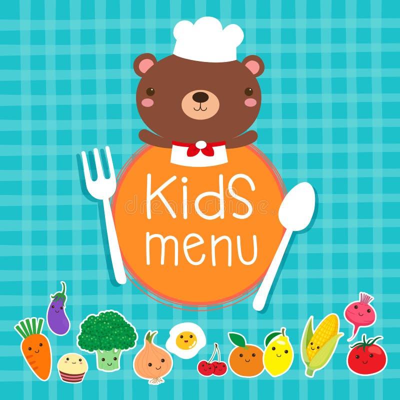 孩子菜单设计与逗人喜爱的熊厨师的 库存例证