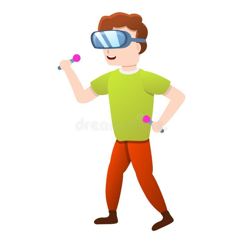 孩子虚拟现实象,动画片样式 库存例证