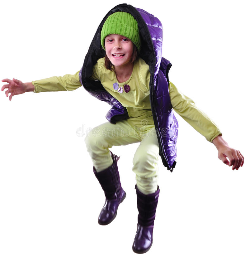 孩子被隔绝的秋天画象有帽子和起动跳跃的 免版税库存图片