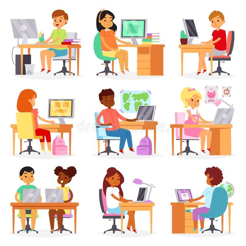 孩子计算机学习在膝上型计算机的传染媒介孩子教训在学校例证套女小学生和男小学生学会 向量例证