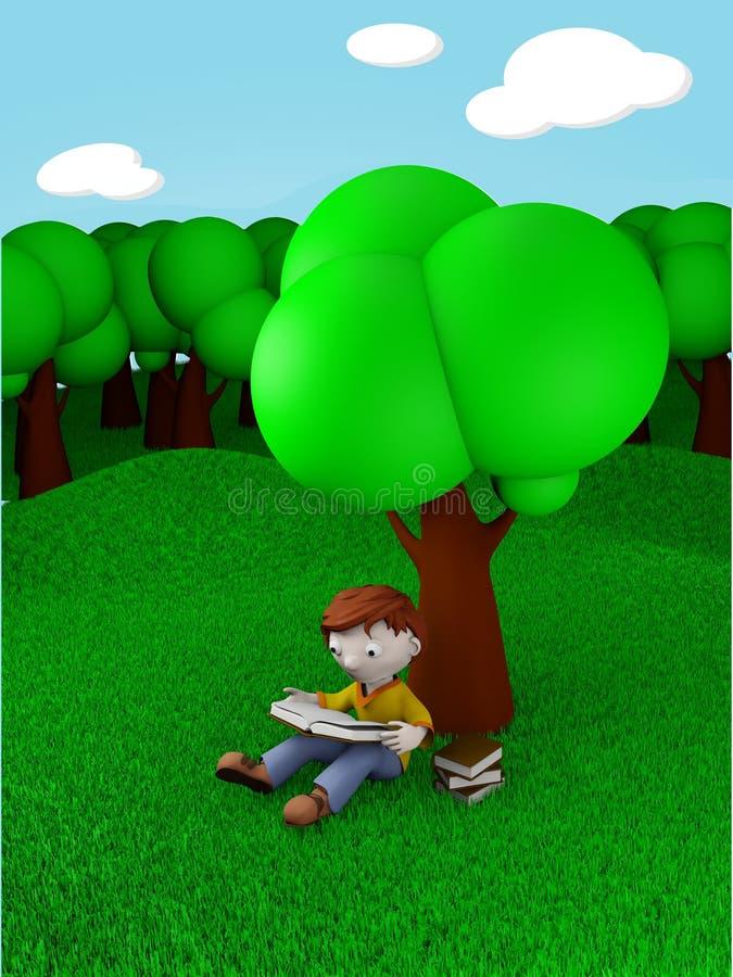 孩子读取在结构树下 库存例证