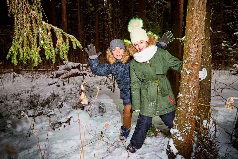 孩子走在雪森林里的男孩和女孩在一个冬日 少年有旅行和休息在室外的周末 图库摄影