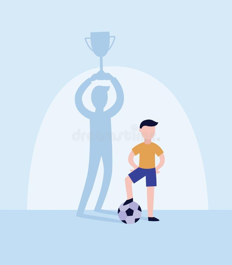 孩子足球运动员投下与战利品杯子平的传染媒介例证的优胜者阴影 皇族释放例证