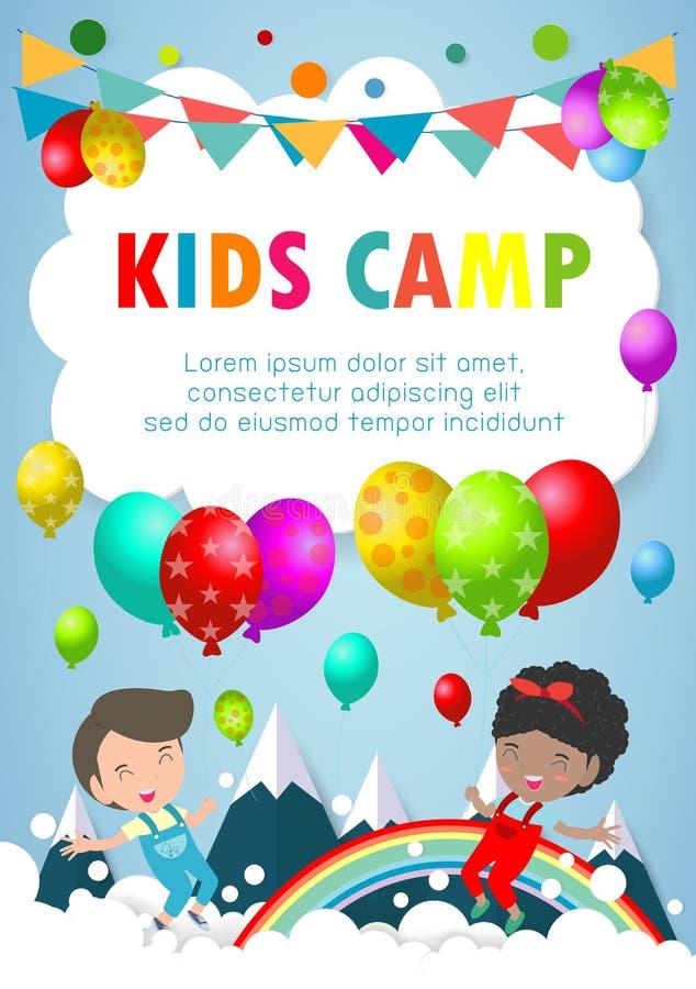 孩子野营,夏天节日宣传手册的庆祝模板,与逗人喜爱的孩子的例证的横幅或飞行物设计 库存例证
