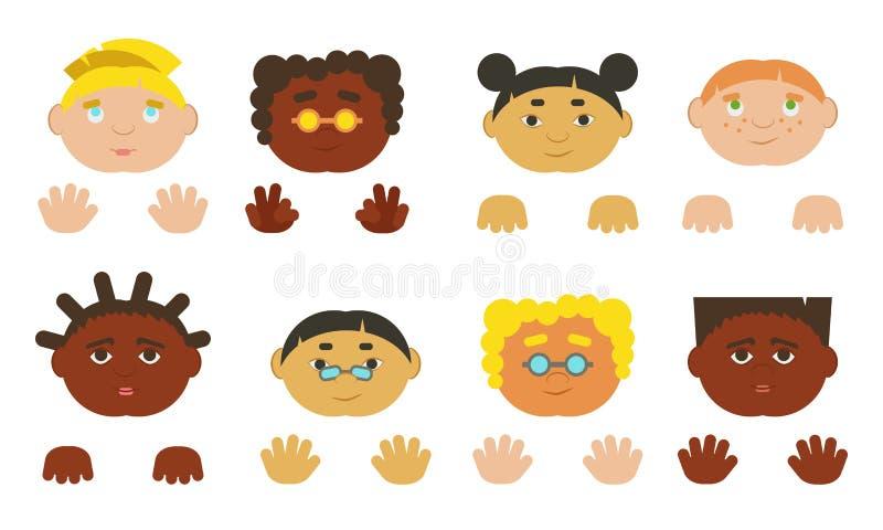 孩子面孔和手 另外ethnics, 库存例证