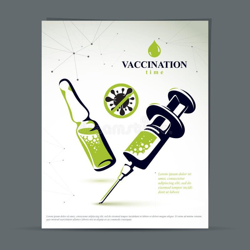孩子预定的接种小册子 医疗细颈瓶和注射器的向量图形例证射入的 库存例证