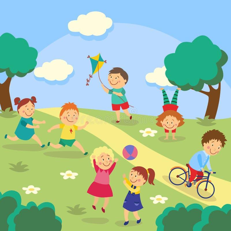 孩子,使用在围场,庭院,公园的孩子 向量例证