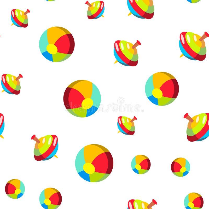 孩子,婴孩玩具动画片传染媒介无缝的样式 向量例证
