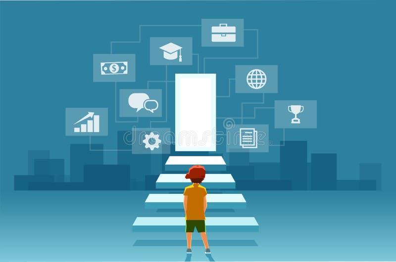 孩子,看台阶的男孩的传染媒介导致现代数字世界的门 向量例证