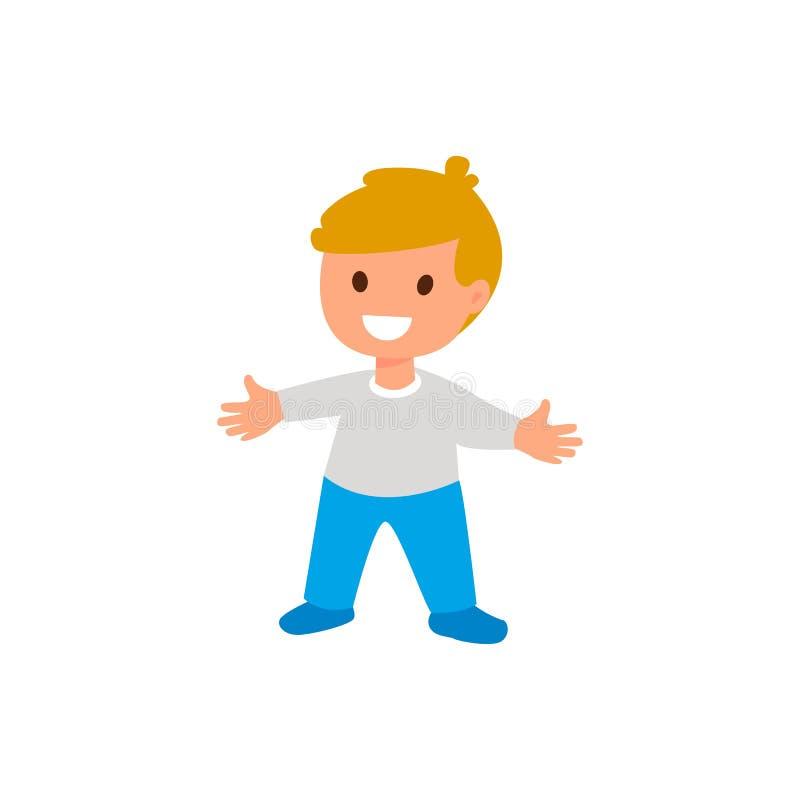 孩子 一个小男孩站立 被隔绝的平的例证 皇族释放例证