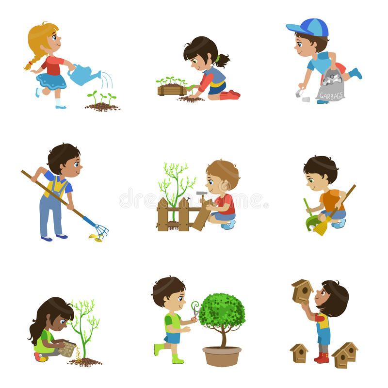 孩子从事园艺的例证收藏 库存例证