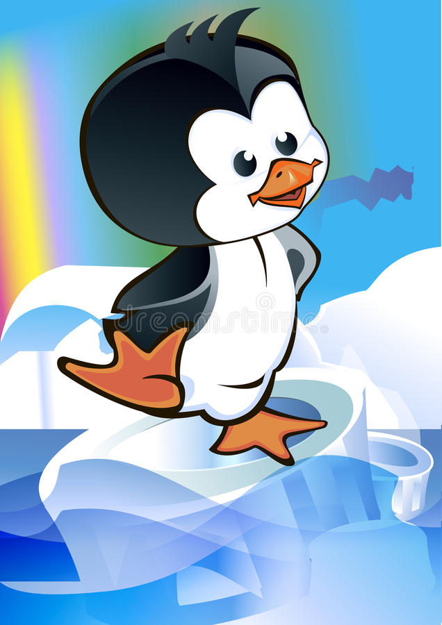 孩子-在冰川的企鹅 皇族释放例证