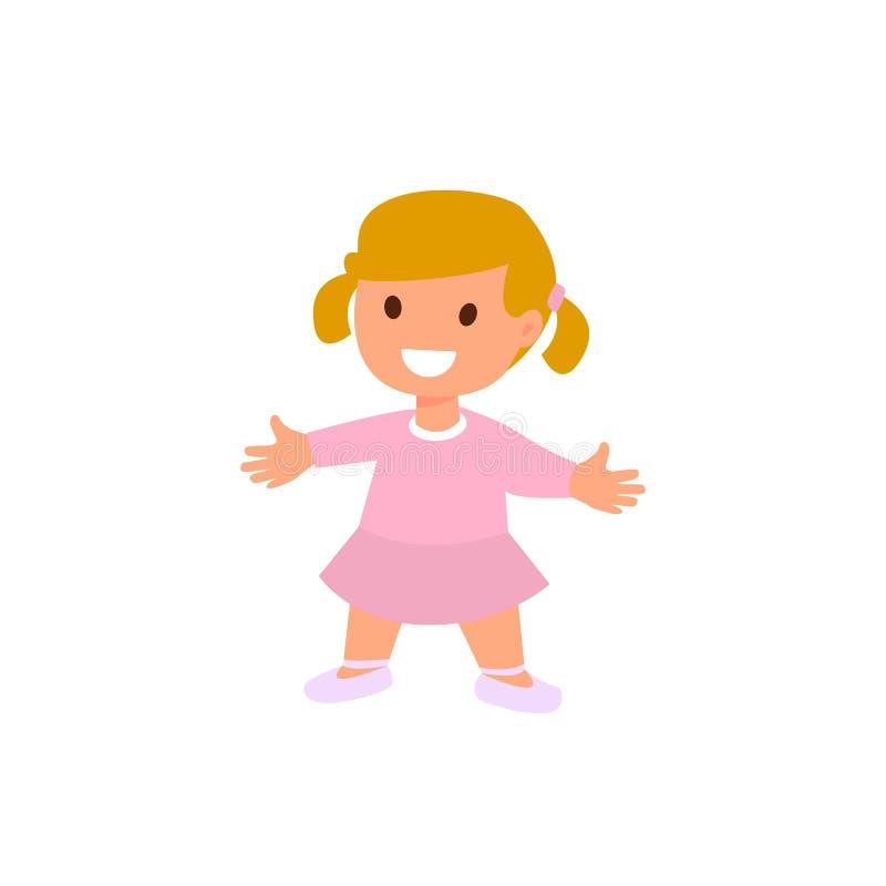 孩子 女孩在一件桃红色礼服站立 被隔绝的平的例证 皇族释放例证