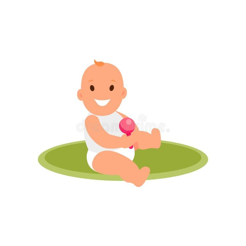 孩子 女孩坐有一个玩具的地毯在他们的手上 平的例证传染媒介 库存例证