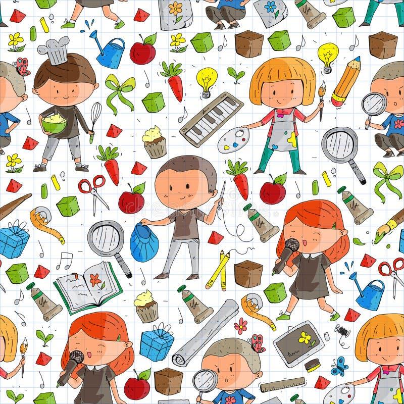 孩子 学校和幼儿园 创造性和教育 音乐 探险 科学 想象力 戏剧和研究 向量例证