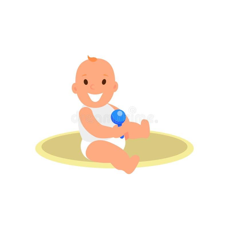 孩子 小男孩坐有一个玩具的地毯在他们的手上 平的例证传染媒介 皇族释放例证
