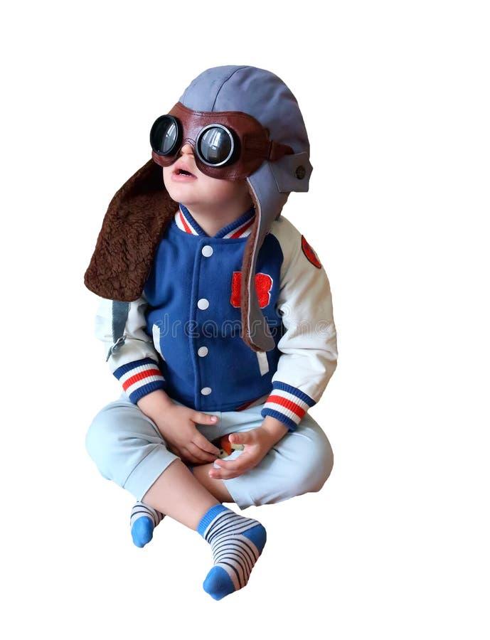 孩子头戴盔甲的和太阳镜飞行员 库存照片