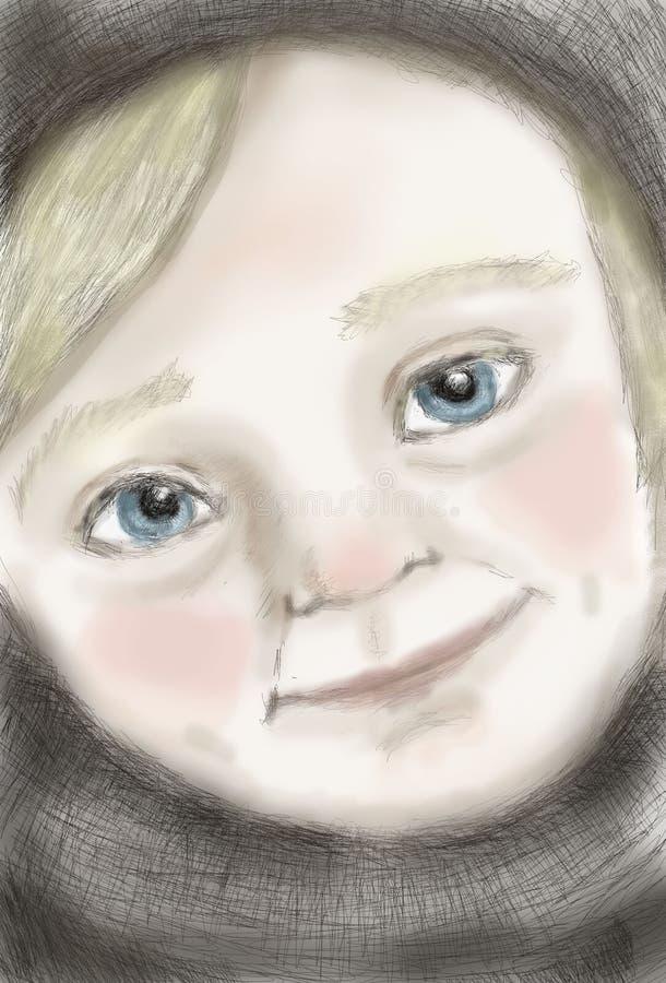 孩子 穿蓝衣的男孩被注视 库存照片