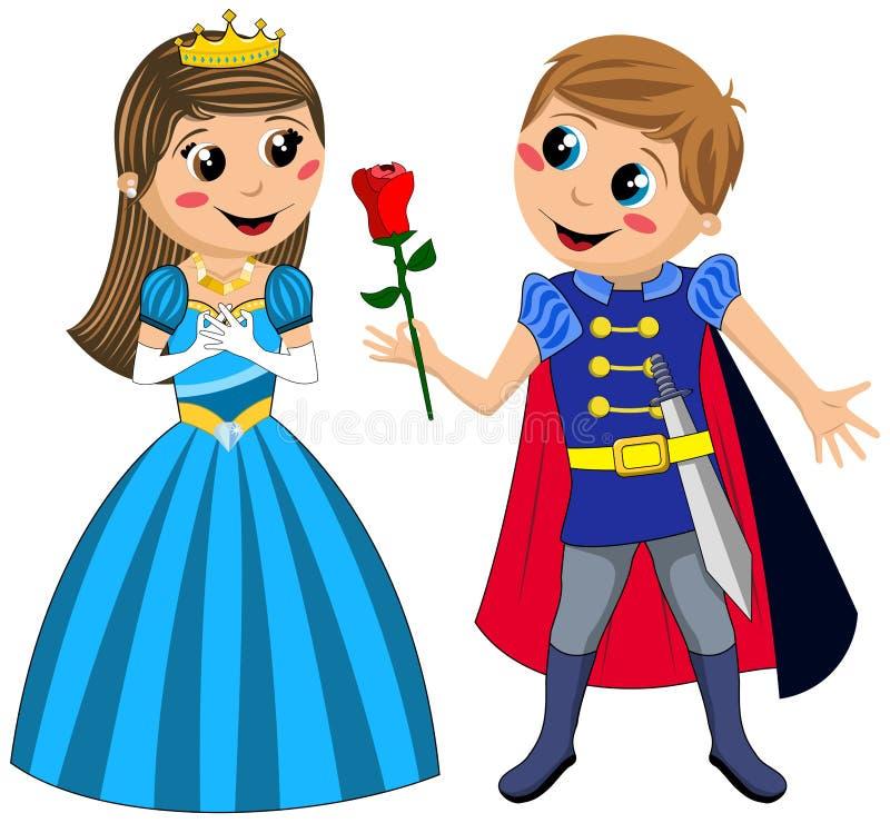孩子Love罗斯Isolated公主王子 库存例证