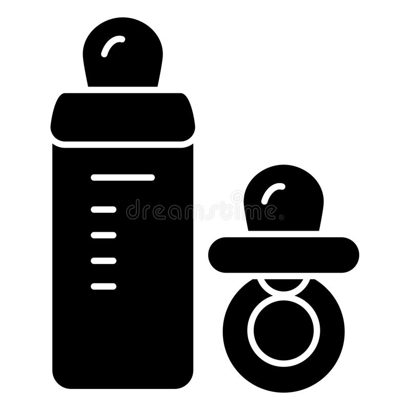 婴孩安慰者和瓶传染媒介象 黑白小钝汉例证 坚实线性象 库存例证