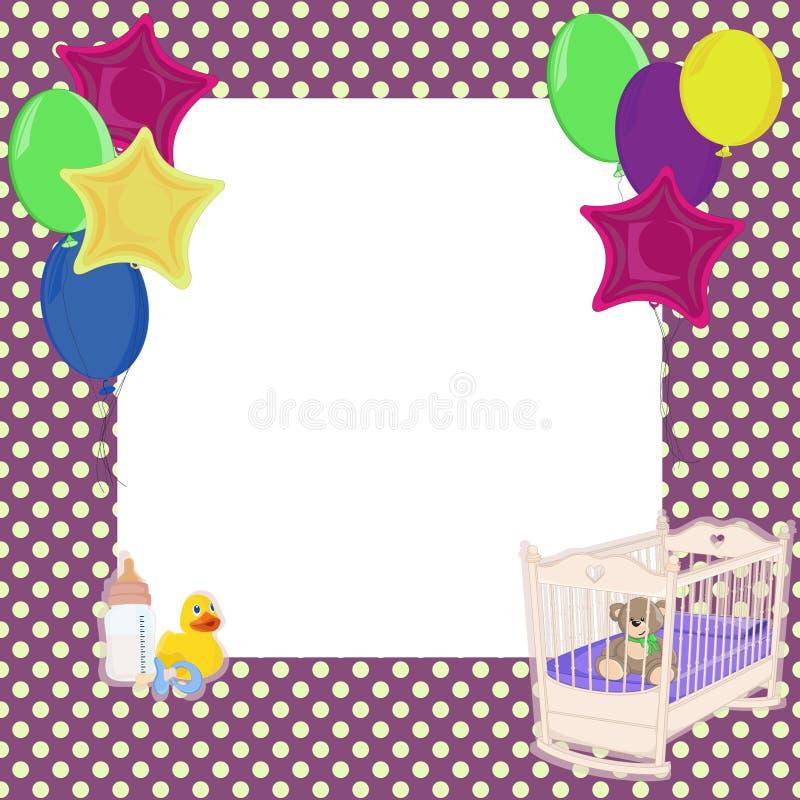 婴孩小点和气球背景 免版税库存图片