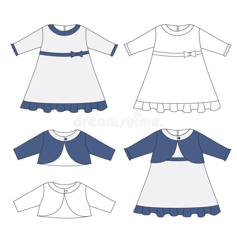婴孩布料设置了,女婴成套装备庄重装束和短上衣夹克 向量例证