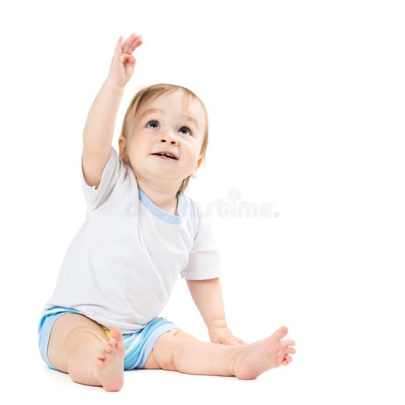 婴孩开会和点他的手 免版税库存图片