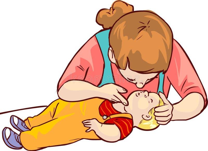婴孩急救 向量例证